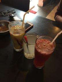Avocado juice, hot lime juice, strawberry juice!